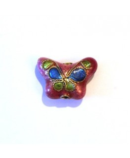 4 PERLES CLOISONNEES 13MM ROUGE