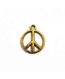 4 Pendentifs peace'n'love en métal doré 17mm
