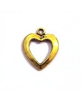 5 Breloques cœur en métal argenté 15mm