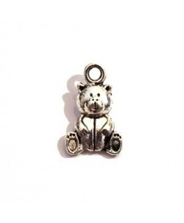Breloque cœur en métal argenté vieilli x5