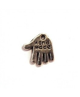 Breloque cœur en métal argenté vieilli x10