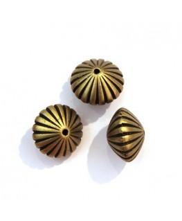 5 Perles CCB toupies striées bronze