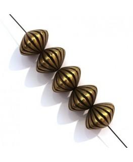 5x Perle CCB toupie striée bronze