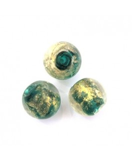 5 Perles rondes en verre noir 14mm