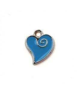 Breloque émaillée coeur bleu