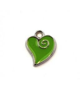 Breloque émaillée coeur vert