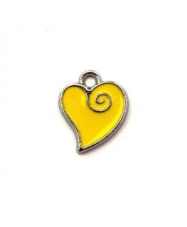 Breloque émaillée coeur jaune