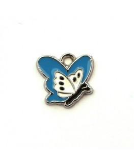 Breloque émaillée papillon bleu