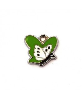 Breloque émaillée papillon vert