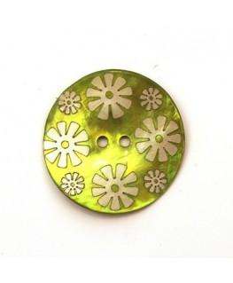 Bouton nacre 25mm vert clair x6