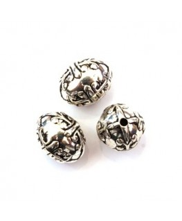 5 Perles CCB ovale 15mm argent