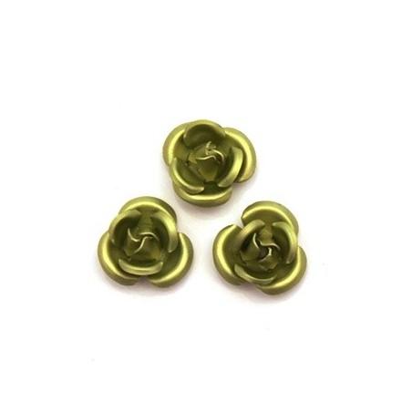 5 Roses métal 6mm rose