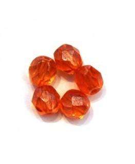 Perles à facettes 6mm orange lustré x20