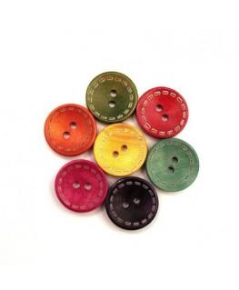 Perles boutons en bois 20mm