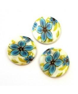 Perle en nacre imprimée fleur bleu