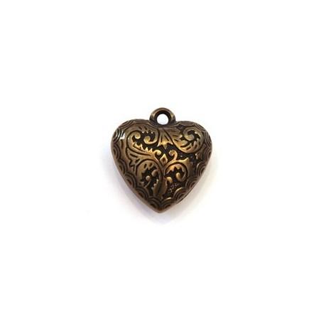 Perle CCB pendentif coeur 25mm bronze