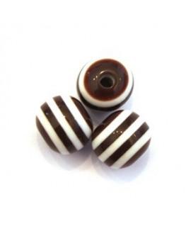 Perle acrylique rayée 11mm marron  x10