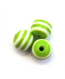 Perle acrylique rayée 11mm vert x10