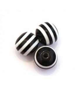 Perle acrylique rayée 11mm noir x10