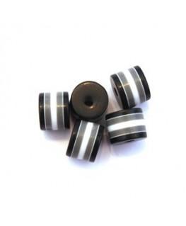 Perle tube rayé en acrylique noir x10