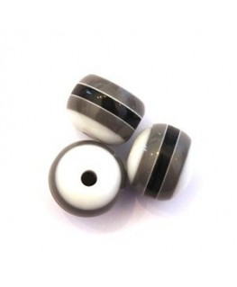 Perles rayées acrylique 12mm gris, noir et blanc