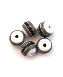Perles rayées acrylique 10mm gris, noir et blanc