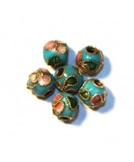 10 Perles cloisonnées rondes 6mm turquoise