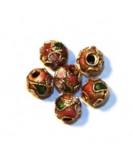 10 Perles cloisonnées rondes 6mm rose
