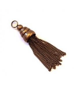 Grand pendentif pompon chainette bronze