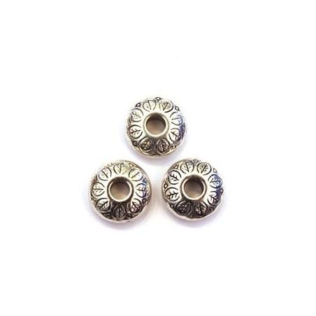Perle CCB rondelle 4mm argent x6