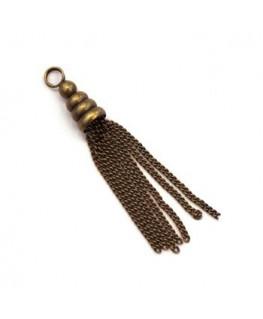 Pendentif pompon chainette bronze