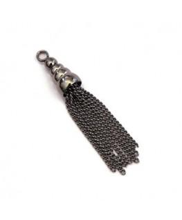 Pendentif pompon chainette noir gunmetal