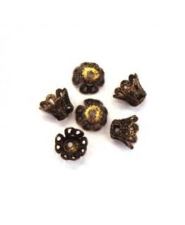Perles calottes tulipe filigranées 7mm bronze