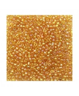 Perles de rocaille  en verre 2mm 20g jaune orange irisé