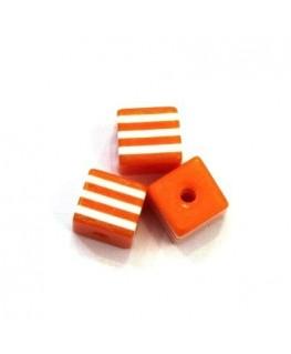 Perles rayées cubes acrylique 7mm orange