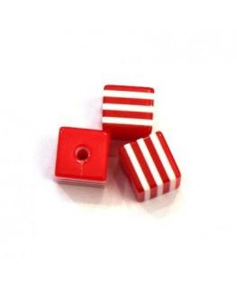 Perles rayées cubes acrylique 7mm rouge