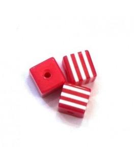 Perles rayées cubes acrylique 7mm fuchsia