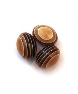 Perles ovales rayées en acrylique caramel