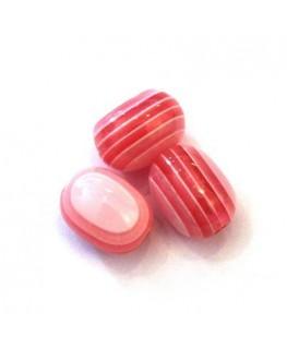 Perles ovales rayées en acrylique rose
