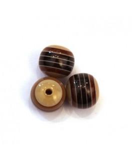 Perles rayées en acrylique marron 10mm