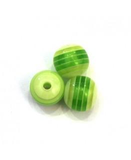 Perles rayées en acrylique vert 10mm