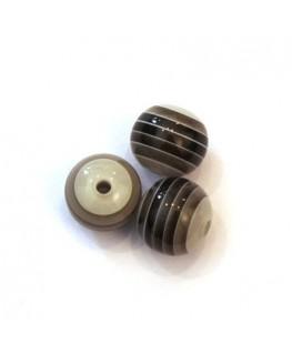 Perles rayées en acrylique noir et gris 10mm