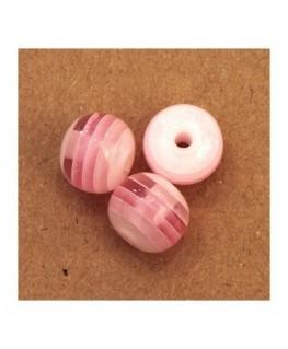 Perles rayées en acrylique rose 10mm