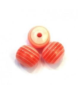 Perles rayées en acrylique rose saumon 12mm