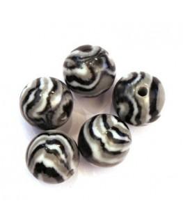 Perles acryliques 16mm noir et gris