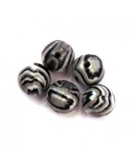 Perles acryliques 14mm noir et gris