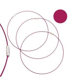Tour de cou fil cable rose framboise