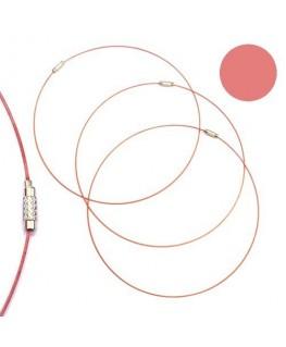 Tour de cou fil cable rose pastel