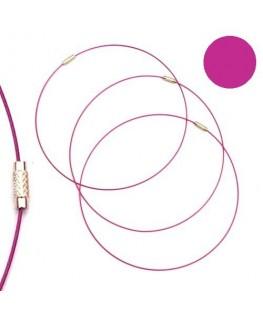 Tour de cou fil cable rose magenta