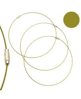 Tour de cou fil cable vert olivine